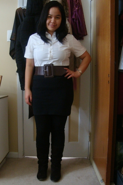 Divi top - Sirens belt - Divi skirt - Vero Moda leggings - le chateau boots