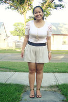 pink Forever 21 top - beige Urban Behaviour shorts - gold Divi shoes - gold Wet