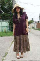 purple Kismet top - brown vintage skirt - white Janylin shoes - black Divi neckl