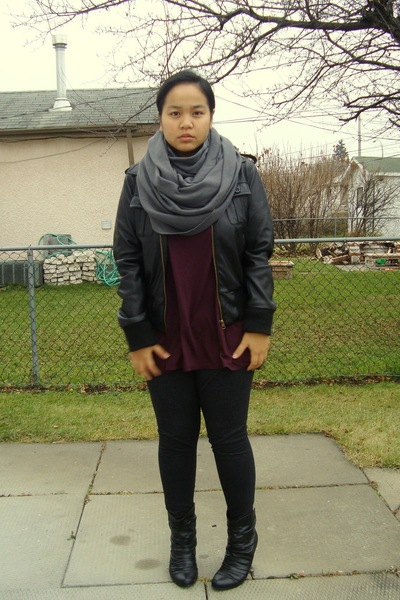 aa scarf - Suzy Shier jacket - Bootlegger top - garage leggings - Sirens boots