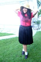 black Old Navy skirt - beige Walmart hat - orange bench t-shirt - brown GoJane s