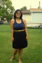 Divi top - joe fresh style belt - Old Navy skirt - shoebox shoes - 3D glasses