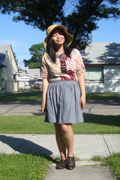 beige Walmart hat - white Juana top - gray American Apparel skirt - brown GoJane