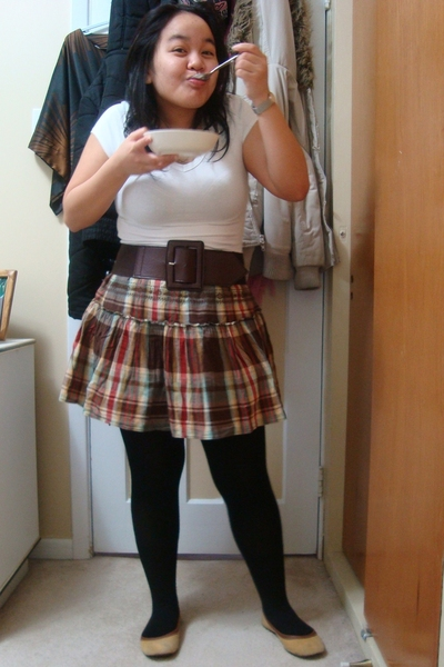 hand me down - Suzy Shier shirt - belt - Old Navy skirt - tights - shoebox shoes