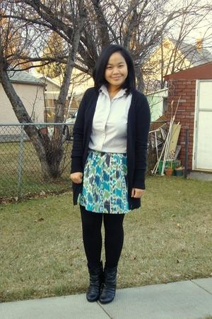 silver joe fresh style top - black Old Navy sweater - green Kismet skirt - black