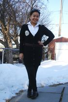 black Old Navy cardigan - white Divi top - brown GoJane shoes - brown Jacob belt