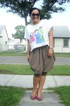white Tminx top - green Forever 21 pants - brown Forever 21 glasses - purple pay