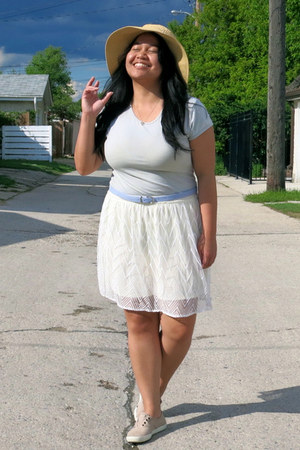 beige Target hat - white American Eagle skirt - light blue unknown top