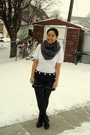 White-old-navy-top-gray-american-apparel-scarf-blue-joe-fresh-style-shorts-