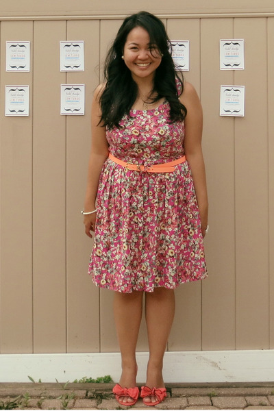 hot pink Target dress - orange H&M belt - salmon Chinese Laundry flats