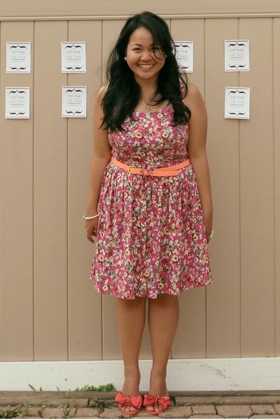 hot pink Target dress - orange H&M belt - salmon Chinese Laundry flats