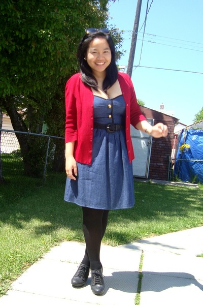 red Divi cardigan - blue Voom by Joy Han dress - black payless tights - black Al