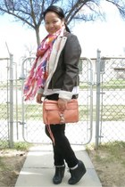 black Aldo wedges - dark brown Burlington jacket - white TNA shirt