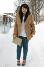Brown-zara-coat-beige-celine-purse-white-j-crew-top