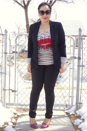 black Suzy Shier blazer - off white H&amp;M top - black Club Monaco pants
