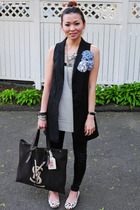 H&M vest - DKNY top - leggings - YSL accessories - Marc by Marc Jacobs shoes - f