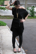 Zara top - calvin klein dress - leggings - Marc by Marc Jacobs shoes - H&M belt
