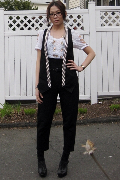 Forever21 top - Zara vest - CdG pants - Nine West shoes