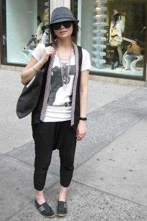 Zara blazer - Zara t-shirt - Zara pants - adidas shoes - hat - YSL accessories