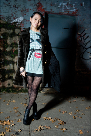 brown coat - blue shirt - black dress - black tights - black shoes - black belt