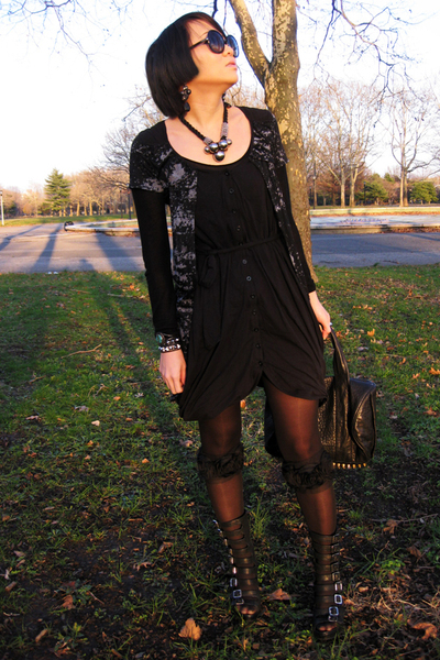black DreeeN dress - black tights - black Jeffrey Campbell shoes - black AWang a