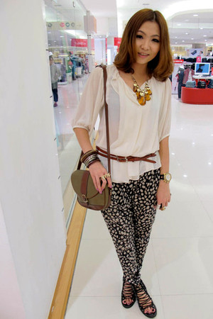 white Chloe Chan blouse - black pants - black shoes - brown belt - green bag - b