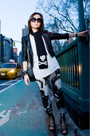 black H&M jacket - black Barneys New York scarf - white H&M pants - black vivien