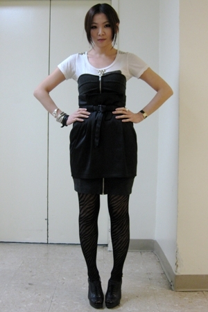 H&M skirt - H&M dress - Zara t-shirt - besty johnson tights - Nine West shoes