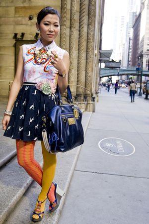 blue coach accessories - white Fornarina t-shirt - blue skirt - gold H&M tights