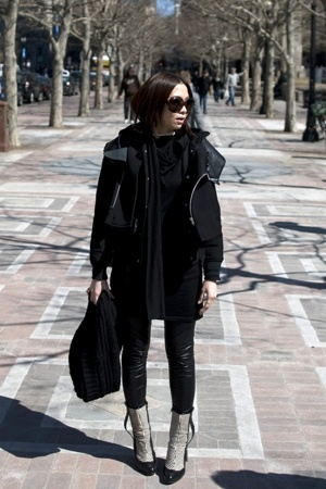 jacket - HK dress - leggings - H&M scarf - shoes - sunglasses