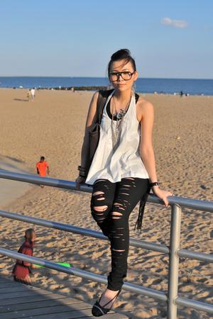 black H&M jeans - black Stella McCartney for Adidas shoes - white H&M top