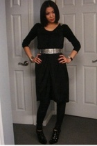 H&M dress - leggings - Colin Stuart shoes - belt