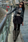 Charcoal-gray-furry-boots-gray-denim-jacket-jacket-eggshell-fluffy-sweater-