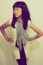 scarf - blazer - top - leggings