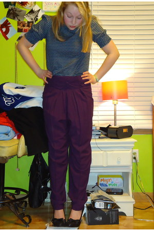 deep purple high waisted Smart Slacks pants - navy Divided blouse