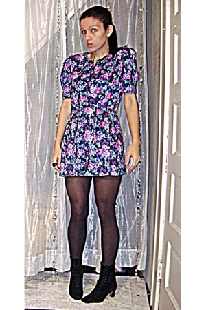 blue Tabby of California dress - black boots vintage shoes - gray H&M stockings