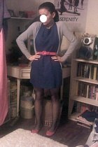Old Navy dress - belt - forever 21 shoes - Old Navy sweater - forever 21 tights
