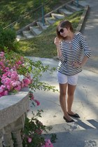 navy navy Zara blouse - white Zara shorts - black New Yorker sunglasses