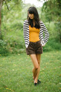 Chocolate-brown-gap-shorts-mustard-forever-21-top-stripes-h-m-cardigan