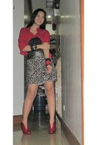 red Terranova blazer - white H&M skirt - black top - silver Dept Store belt - re