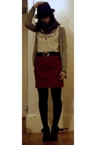 vintage top - Urban Outfitters belt - skirt - Report shoes - Urban Outfitters sw