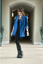 blue vintage blazer - black Urban Outfitters skirt - black Bakers boots