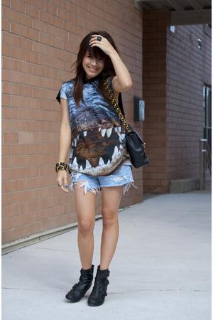 black bootie Target boots - blue shorts Levis jeans - black Topshop shirt
