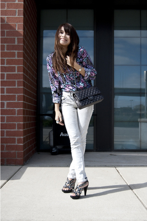 vintage shirt - Topshop jeans - Jeffrey Campbell shoes - Chanel purse