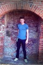 blue Topman t-shirt - black River Island jeans - white Converse pumps