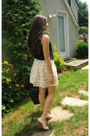 brahmin bag - BCBG wedges - embroidered Urban Outfitters skirt