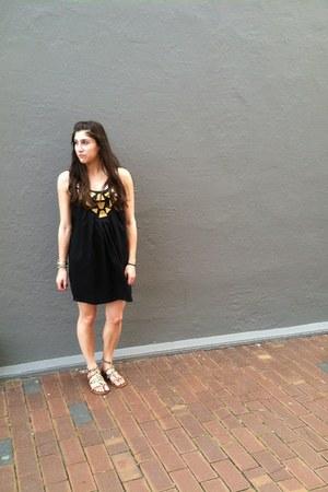 black nastygal dress - Aldo sandals - DKNY watch