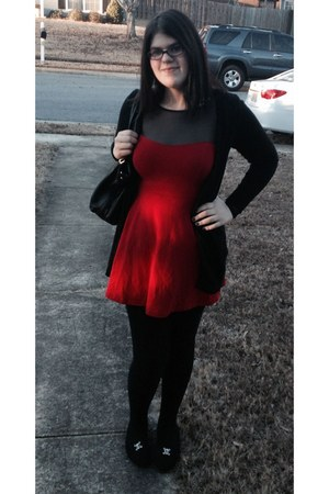 red Forever 21 dress - black Forever 21 purse - black H&M cardigan