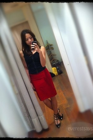 red Forever21 skirt - black heels