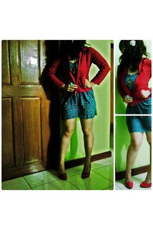 red thrifted jacket - Forever 21 dress - red bought online shoes - white Forever